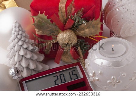 Gift, candle, calculator, new-year balls - stock photo