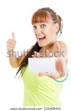 Gift card , happy excited cute smiling woman or teenager girl showing empty blank paper card sign with copy space for text with thumbs up . Gorgeous caucasian female model isolated on white background - stock photo