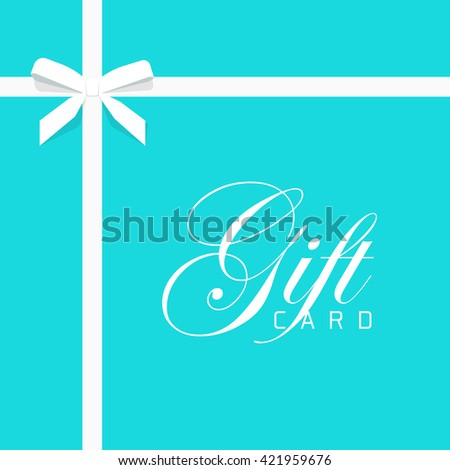 Gift card illustration on blue background, luxury thin gift bow with white ribbon and space frame for text, gift wrapping template for banner, poster design
