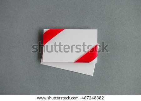 Gift card notes with red ribbons