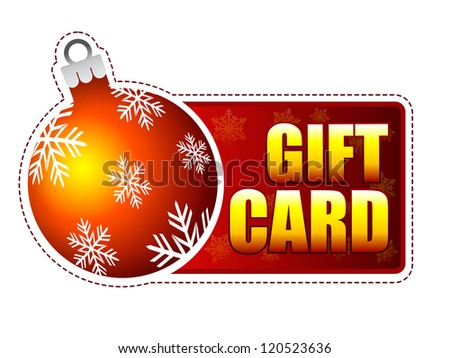 gift card - red and yellow label with text and christmas tree ball with snowflakes - stock photo