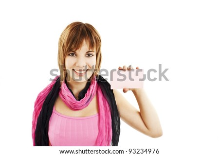 Gift card sign woman. Excited young female showing empty blank paper note copy space. Isolated on white background - stock photo