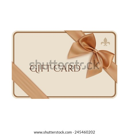Gift card template with golden ribbon and a bow - stock photo