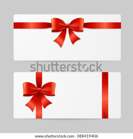 Gift Card Template with Red Ribbon. illustration - stock photo