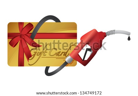 gift card with a gas pump nozzle illustration design over a white background - stock photo