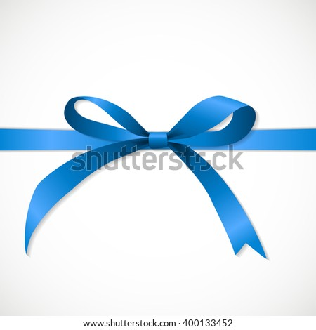 Gift Card with Blue Ribbon and Bow. illustration  - stock photo