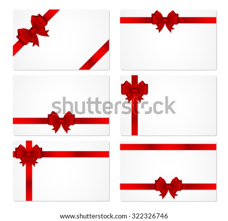Gift Card with Bow and Ribbon Illustration  - stock photo