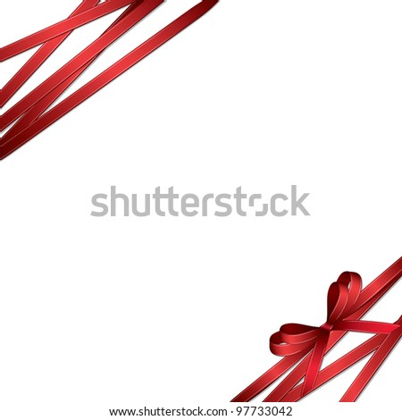 Gift card with flowers and ribbon  (also available vector version) - stock photo