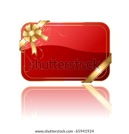 Gift card with golden ribbon and bow, illustration