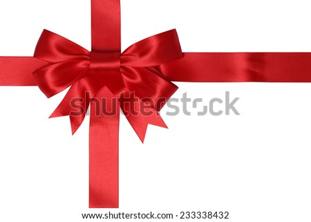 Gift card with red ribbon for gifts on Christmas or birthday isolated on a white background - stock photo