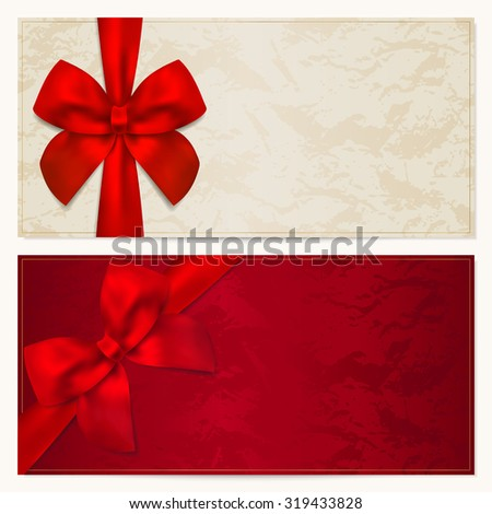 Gift certificate voucher coupon invitation gift stock illustration gift certificate voucher coupon invitation or gift card template with red bow pronofoot35fo Choice Image