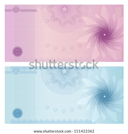Gift Certificate, Voucher, Coupon Template With Blue Guilloche Pattern  (watermark). Background Throughout Money Note Template