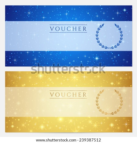 Gift certificate, Voucher, Coupon template with sparkling, twinkling stars. Night sky background design in gold, blue color for invitation, banner, ticket - stock photo