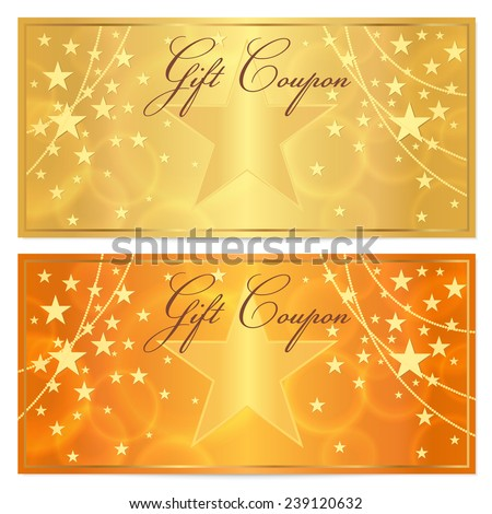 Gift certificate, Voucher, Coupon template with stars pattern. Holiday gold and orange background for money design, currency, note, check (cheque), ticket, reward on birthday, christmas etc. - stock photo