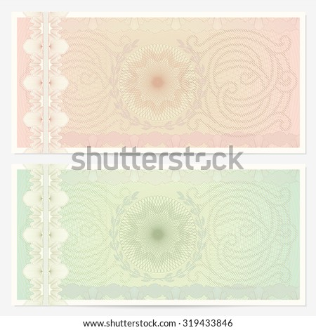 Gift certificate, Voucher, Coupon, ticket template. Guilloche pattern (watermark, spirograph). Blank background for banknote, money design, currency, bank note, check (cheque), ticket - stock photo