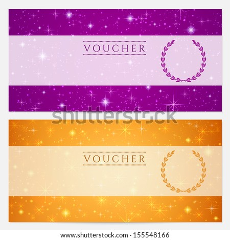 Gift certificate, Voucher, Coupon with sparkling, twinkling stars. Night sky background design for invitation, banner, ticket. Blank (orange, violet) template - stock photo