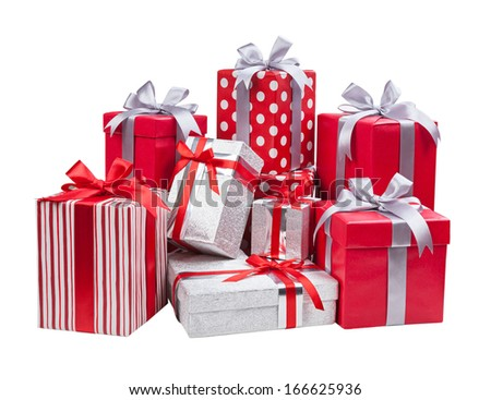 Gift concept. Present boxes with bows isolated on white background  - stock photo