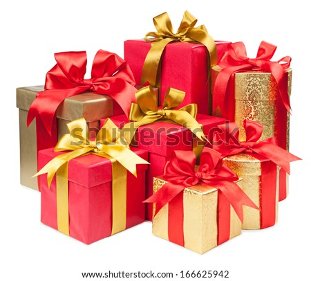 Gift concept. Present boxes with bows isolated on white background