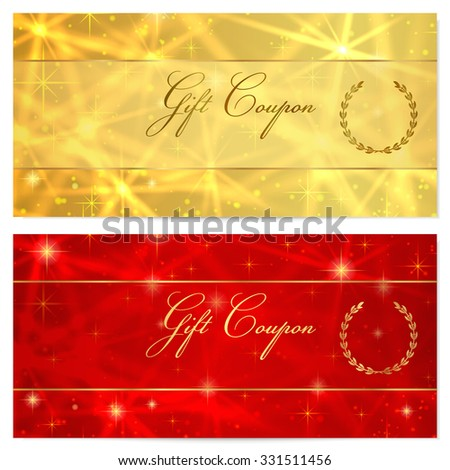 Gift  Coupon, Gift certificate, Voucher, Reward or Gift card template with sparkling, twinkling stars texture (pattern). Red, gold background design for gift money bonus, ticket - stock photo