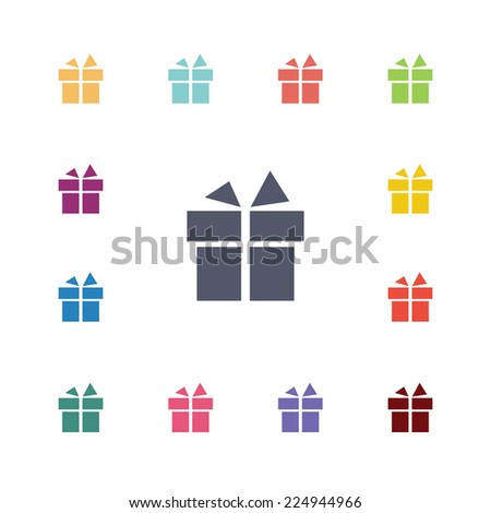 gift flat icons set. Open round colorful buttons.  - stock photo