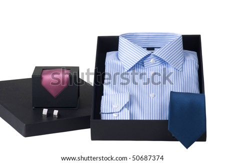gift idea, man's shirt and ties in elegant box, isolated on white - stock photo