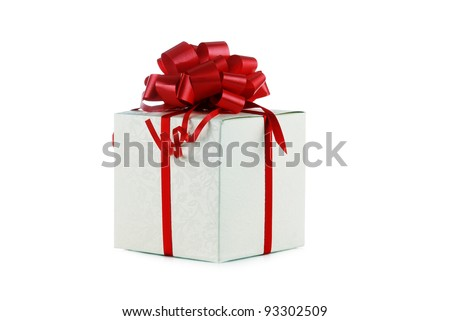 Gift in box with red bow closeup - stock photo