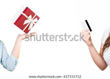 Visa gift card stock images royalty free images vectors gift in hand and credit card in hand negle Gallery