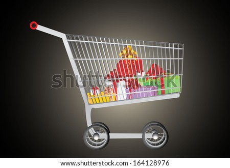 Gift in shopping cart - stock photo