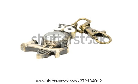 Gift key chain with animal and watch symbol isolated on white background - stock photo