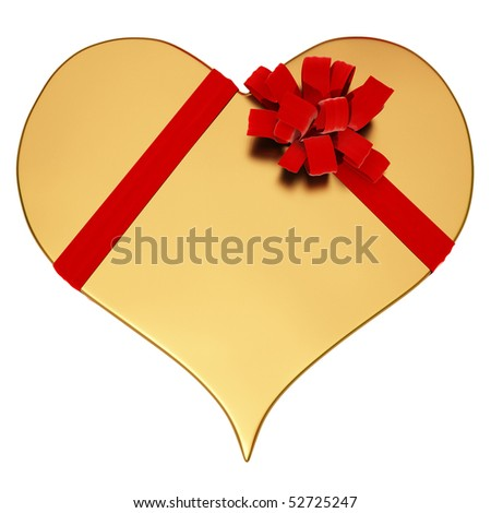 gift of a golden heart. bandaged with a red satin ribbon. with clipping path - stock photo