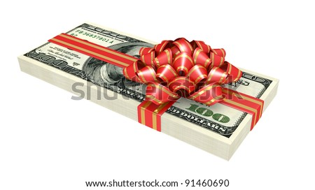 Gift of money, dollars bank notes, tied a red ribbon with a bow, the concept of success - stock photo