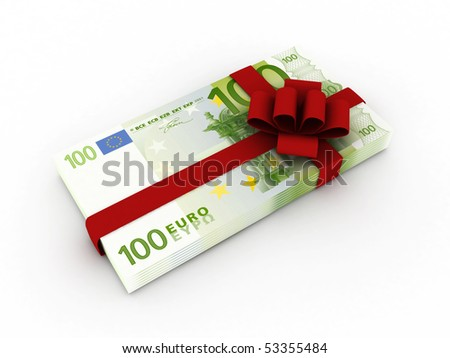 Gift of money. Stack of euro bills with red ribbon isolated on white background. High quality 3d render. - stock photo