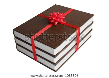 Gift of three books with red ribbons