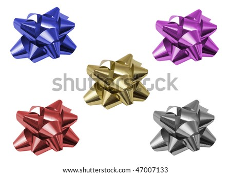 gift ornament star isolated with clipping path over white background in different colors - stock photo