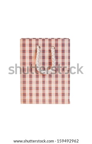 Gift package in a cage on white background