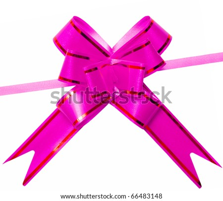 gift pink bow isolated on white background