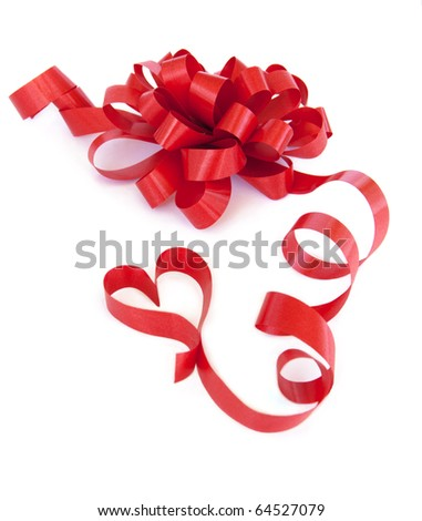 Gift red ribbon and bow isolated on white. - stock photo