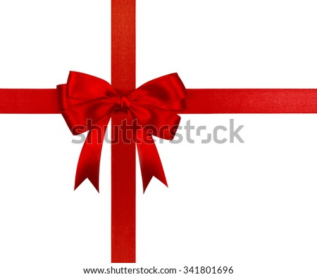 Gift red ribbon and bow isolated on white background.