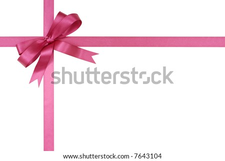 Gift ribbon, bow, fuchsia pink, frame isolated on white background