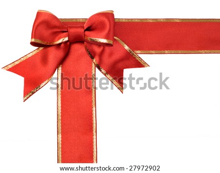 gift satin red  ribbon bow on white background
