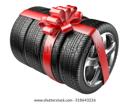Gift set tyres with a wrapped red ribbon and bow. 3D illustration  isolated on white background. - stock photo