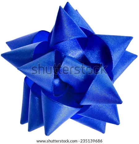 gift shining blue ribbon bow isolated on white background - stock photo
