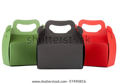 Gift Shopping red, black and green Boxes on the white background - stock photo
