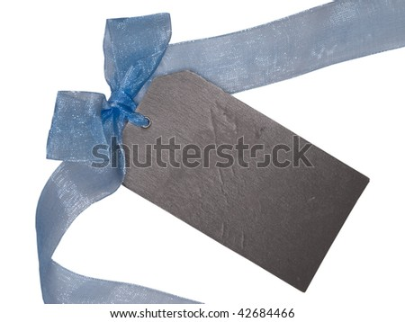 gift tag with blue ribbon