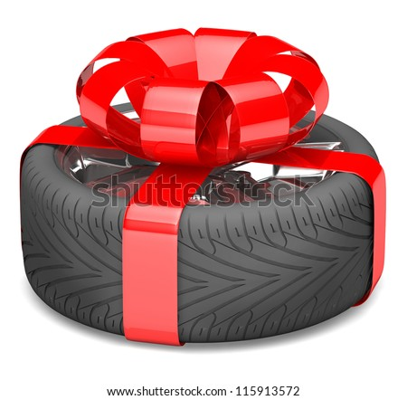 gift wheel, tied with a red ribbon as a gift. illustration on white. - stock photo