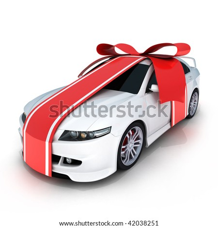 """Gift  """"white car"""" (done in 3d, isolated) - stock photo"""