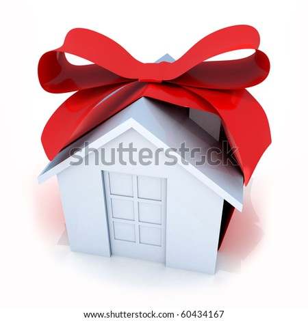 """Gift  """"white home"""" (done in 3d, isolated) - stock photo"""