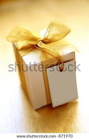 gift with a note - stock photo