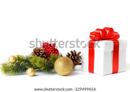 Gift with christmas tree isolated on white background - stock photo