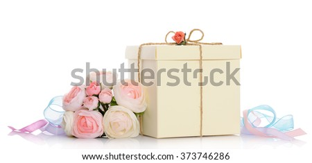 gift with floral decoration - stock photo